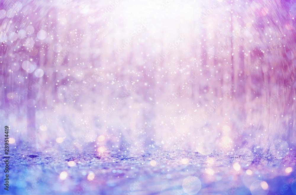 Fototapeta Beautiful snowflakes on an abstract shiny light background