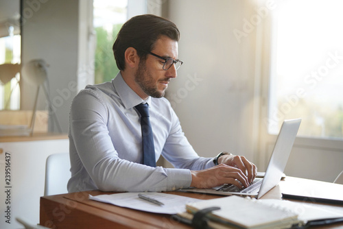 Carta da parati  Attractive businessman typing on laptop in modern office