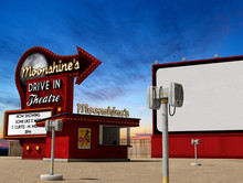 Traditional Drive-in Movie Theater Cinema At Dusk