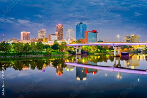 Little Rock, Arkansas, USA skyline on the Arkansas River Canvas Print