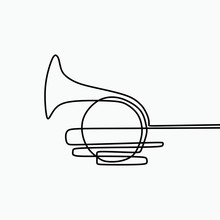 One Line Art Of French Horn. M...