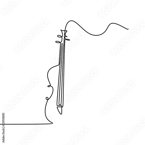 Fényképezés Cello one line drawing vector illustration