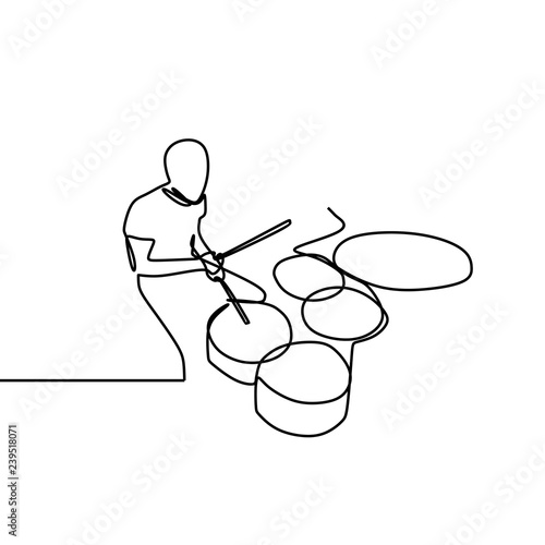Carta da parati One line drawing of a man playing drum isolated on white background