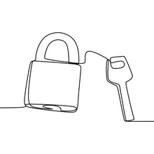 One Line Drawing Of A Padlock ...