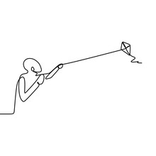 One Line Art Drawing Of A Pers...