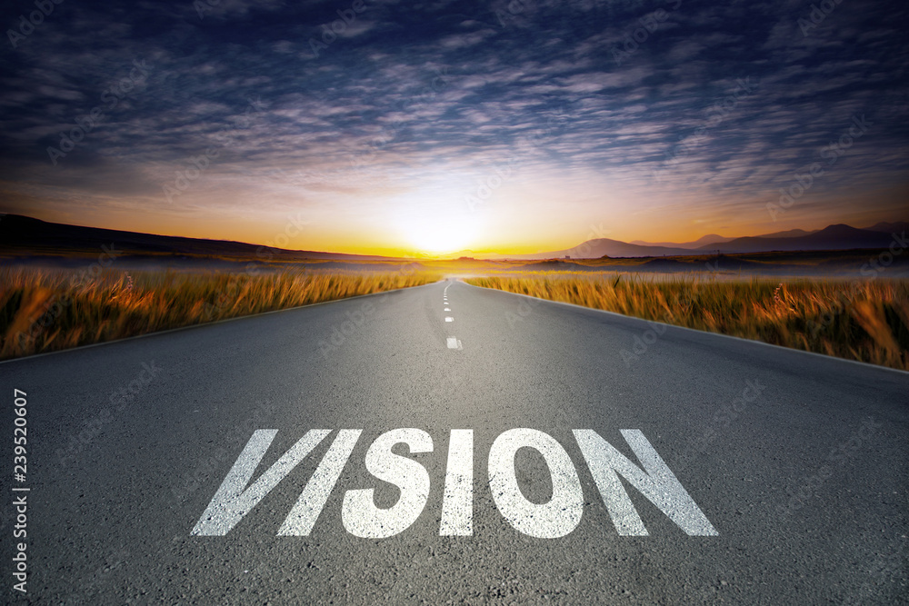 Fototapeta vision text on road