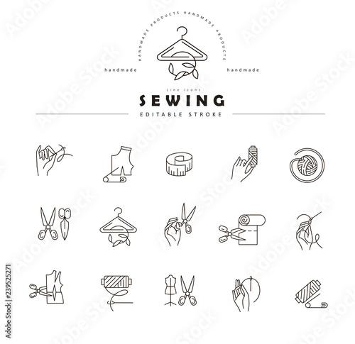 Fotografia, Obraz Vector icon and logo sewing and handmade