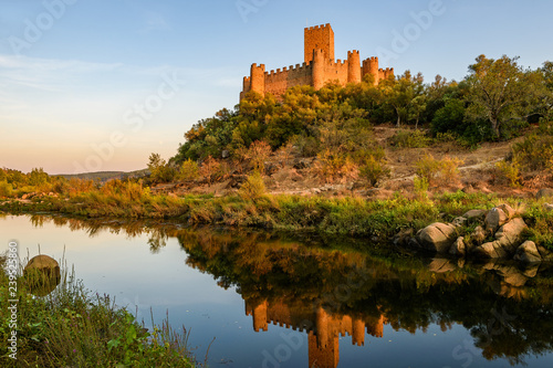 Fotografia, Obraz  Castle of Almourol, an iconic Knights Templar fortress built on a rocky island in the middle of Tagus river