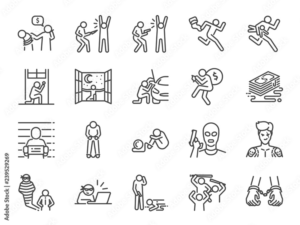 Fototapeta Criminal line icon set. Included the icons as outlaw, crime, homicide, arrest, prisoner and more.