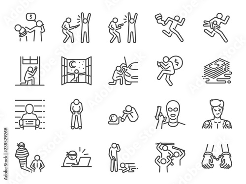 Cuadros en Lienzo  Criminal line icon set