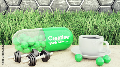Fotografia  3d render of creatine big pill, Two dumbbells and a cup of coffee
