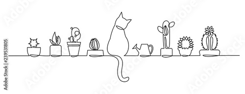 Fotografie, Obraz Continuous one Line Drawing of Vector Cute Cactus