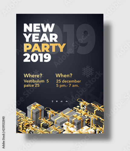 Staande foto Retro sign happy new year 2019 background place for text brochure