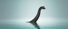 Brachiosaurus Dinosaur In Water.