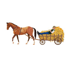 Horse With Cart Of Hay.