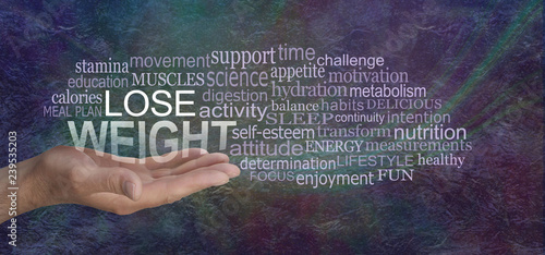 LOSE WEIGHT for MEN - male open palm hand with the words LOSE WEIGHT floating above surrounded by a relevant word cloud against a rustic dark multicolored stone background
