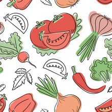 Vegetables Seamless Pattern. Hand Drawn Fresh Tomato, Pepper, Radish, Onion, Garlic, Paprika And Broccoli. Vector Sketch Background. Doodle Wallpaper. Red And Green Print