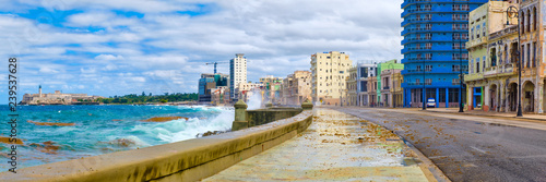 Photo  The Havana skyline and the iconic Malecon seawall with a stormy ocean