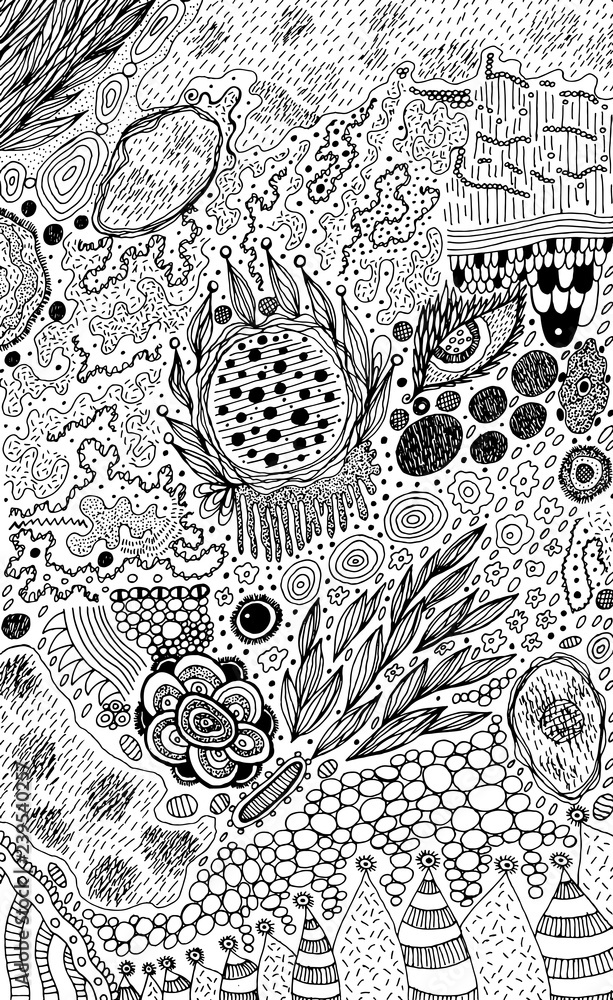 Fotografie, Obraz Psychedelic abstract ink sketch