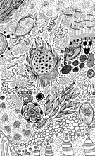 Psychedelic Abstract Ink Sketch. Surreal Weird Line Drawing For Design, Coloring Page For Adults. Vector Illustration