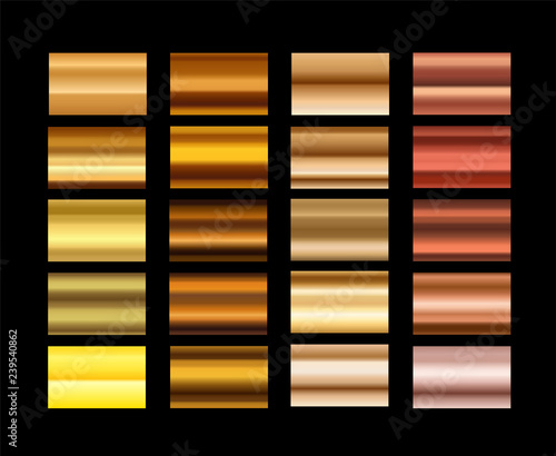 Different metal gradients vector set Wallpaper Mural
