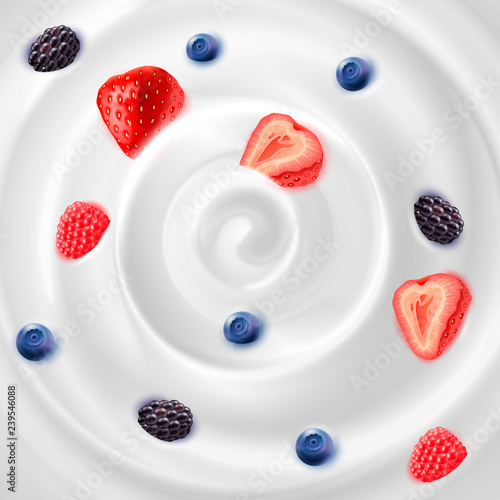 Foto op Aluminium Milkshake Yogurt Cream With jam Realistic Background