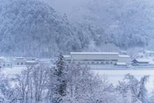 Snow Falling In Winter At Gifu...