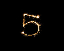 Numbers 5 Or Five Sparkler Fir...