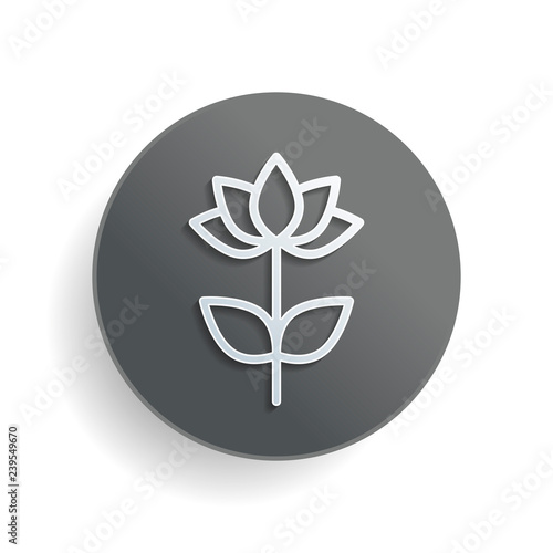 Simple Flower Symbol Linear Icon White Paper Symbol On Gray Round