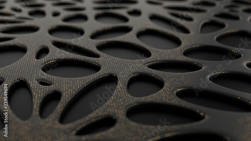 Photo Abstract black background with bionic shape surface