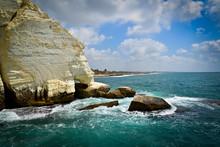 Rocks In The Sea In Acco Israel