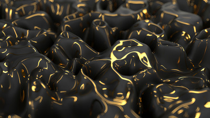 Abstract black wave surface with golden glossiness lines