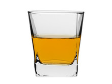 Portion Of Whisky Or Brandy Poured In A Glass On A White Background