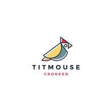 Crooked Titmouse Bird Logo Vec...