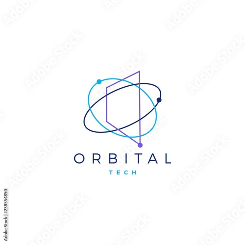 Obraz orbital tech logo vector icon illustration - fototapety do salonu