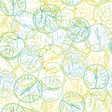 Abstract Colorful Waterlily Or Lotus Flower Leaves Vector Seamless Pattern In A Line Art Hand Drawn Style With Layered Effect.