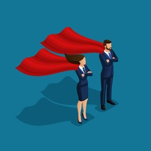 Isometric People Person, 3d Superman Business, Business Under Protection, Businessman And Business Woman With Cloaks Isolated On Blue Background