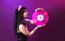 Dj Headphone Equipment Disco Girl Party Retro Vintage Ultraviolet Mixer Young Woman Vinyl Glamor Valentine's Day Plastic Pink Proton Purple