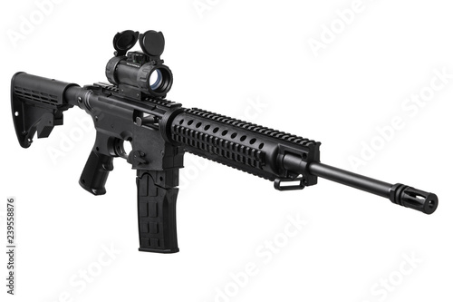 Pinturas sobre lienzo  Modern rifle with an optical sight isolated on white
