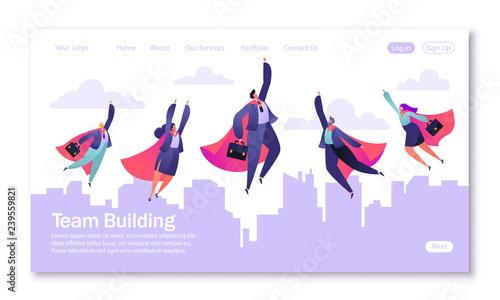 Concept of landing page on teamwork theme Fototapeta