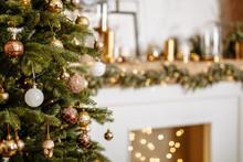 Christmas Tree. Holiday  Interior Background