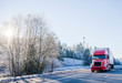canvas print picture - Bright red big rig semi truck with refrigerator semi trailer transporting cargo on straight winter highway frosty hill trees