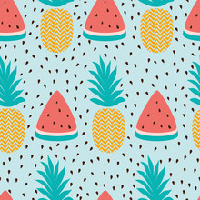Vector Seamless Wallpaper Pattern With Watermelon Slices Pineapple Summer Fresh Fruit Design