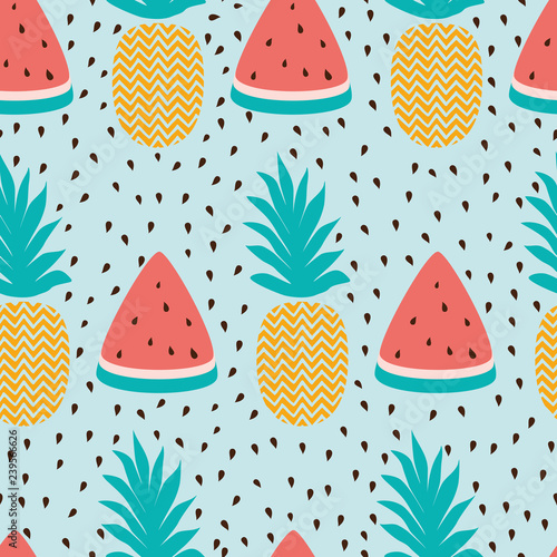 plakat Vector seamless wallpaper pattern with watermelon slices pineapple summer fresh fruit design