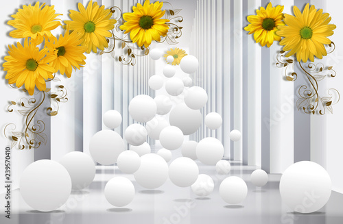 3D wallpaper, architecture tunnel with yellow chrysanthemums and spheres.