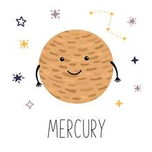 Cute Planet Mercury. Planet Wi...