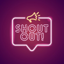 Shout Out Neon Light Announcement Poster Template