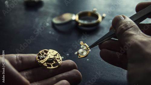 Fototapeta Watch maker is repairing a vintage automatic watch.