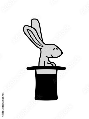 zylinder hut zauber trick zauberer magisch hase kaninchen süß niedlich klein com Canvas-taulu