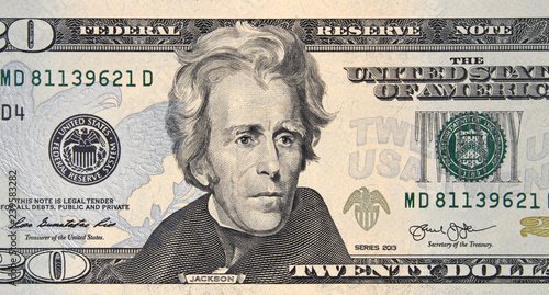 Valokuva  President Andrew Jackson on US 20 dollar bill close up, Unites States federal fed reserve note